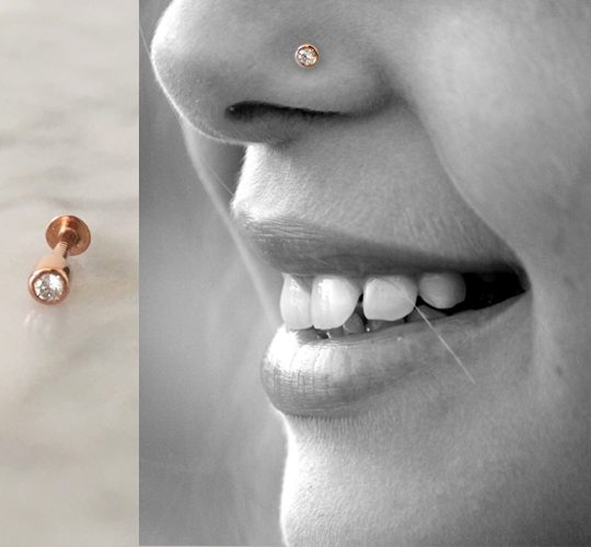 18K rose gold diamond nose stud